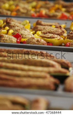 stuffed peppers and courgettes - stock photo