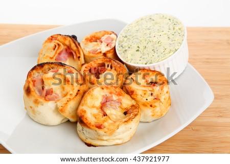stuffed pizza rolls - stock photo