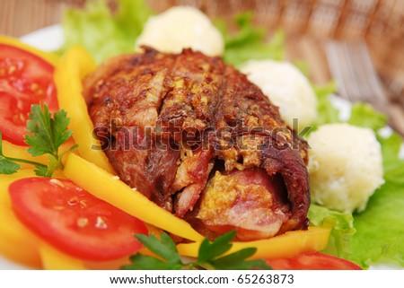Stuffed Pork Chops - stock photo