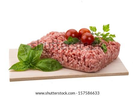 Stuffed raw meat with basil - stock photo