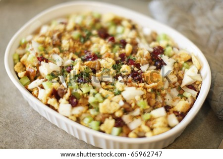 Stuffing fresh out of the oven. - stock photo