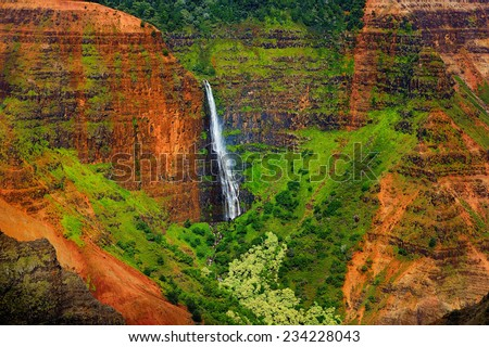 Stunning aerial view into Waimea Canyon, Kauai, Hawaii - stock photo