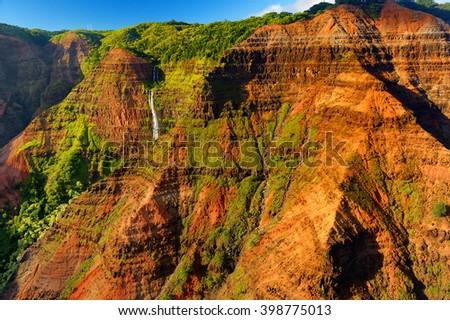Stunning aerial view into Waimea Canyon, Kauai, Hawaii - stock photo