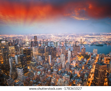 Stunning aerial view of Midtown Manhattan - New York. - stock photo