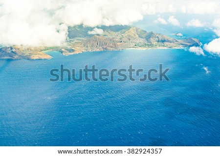 Stunning aerial view of the Maui island, Hawaii from helicopter - stock photo