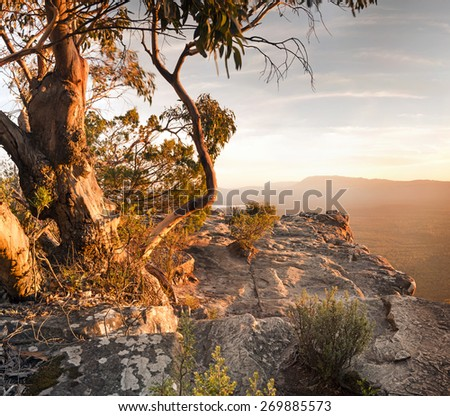 Stunning Australian bush landscape scenic from a mountain top in the Grampians National Park - stock photo