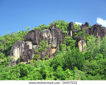 Stunning Boulders and flora and Fauna which found on The Main island Mahe in The Seychelles - stock photo