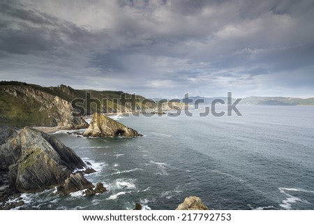 stunning clifftops at loiba in galicia, spain - stock photo