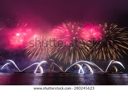Stunning Fireworks Show Over Hong Kong Victoria Harbor - stock photo