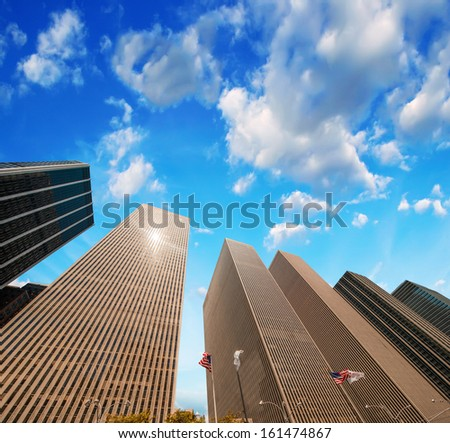 Stunning High-Rise skyscrapers of Manhattan. Magnificent buildings in New York financial district. - stock photo