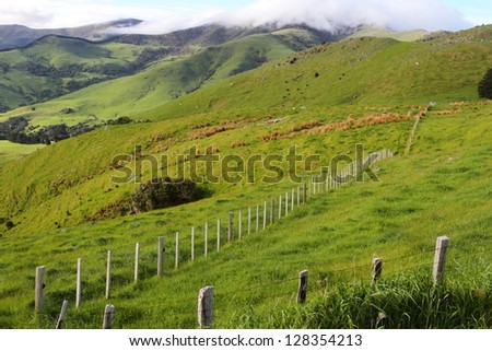 Stunning hilly landscape in Canterbury Region of New Zealand - stock photo