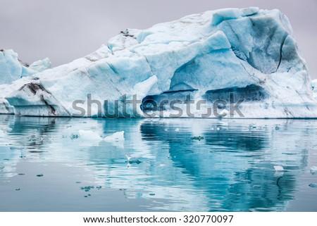 Stunning icebergs floating on the lake, Iceland - stock photo