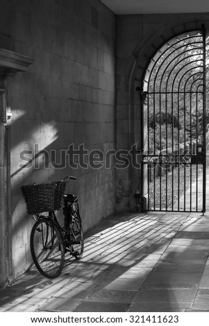 Stunning images of Cambridge City and University locations in black and white - stock photo