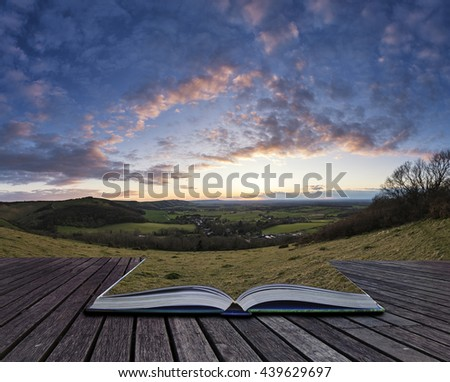 Stunning landscape image of sunset over countryside landscape in England with montage of grass continuing on open book - stock photo