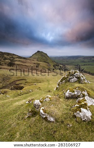 Stunning landscape of Chrome Hill and Parkhouse Hill Dragon's Back in Peak District in UK - stock photo