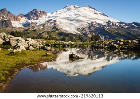 Stunning landscape of snowy volcano peak reflecting on a shadow lake - stock photo