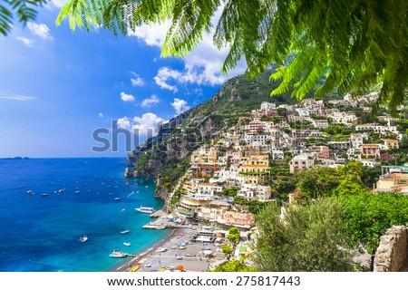 stunning landscapes of Amalfi coast, Positano. Italy - stock photo