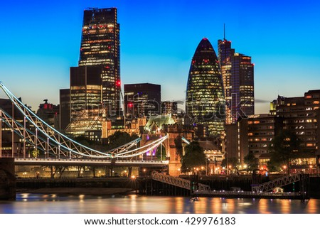 Stunning London cityscape with Tower Bridge during sunset - stock photo
