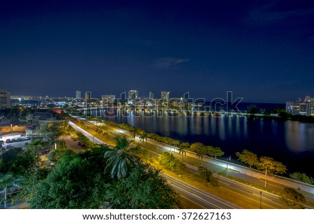 Stunning night view of San Juan, Puerto Rico.  - stock photo