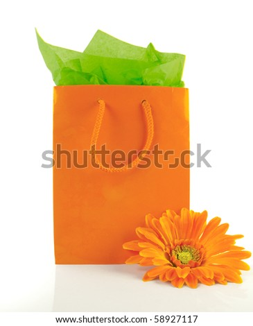 Stunning orange gift bag with matching tissue and flower - stock photo