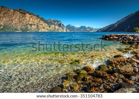 Stunning panorama with Lake Garda near Torbole resort town,Italy,Europe - stock photo