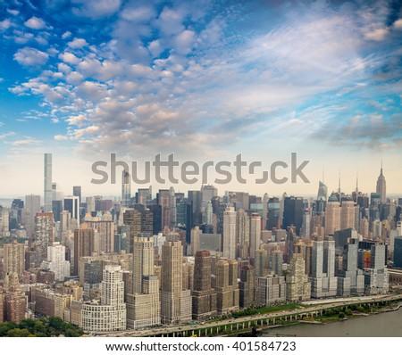 Stunning panoramic view of New York City - NY - USA. - stock photo