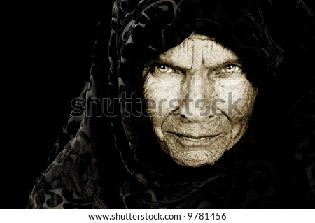 Stunning Portrait image of a russian peasant woman - stock photo