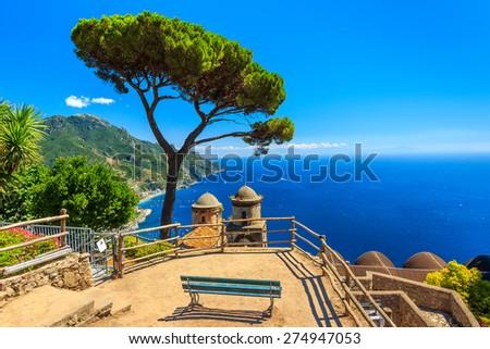 Stunning relaxation place with bench and wonderful panorama,Villa Rufolo,Ravello,Amalfi coast,Italy,Europe - stock photo