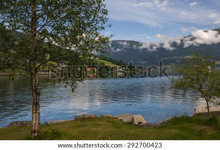 Stunning scenery in Nordfjord near Olden Norway - stock photo
