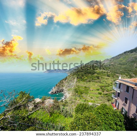 Stunning seascape of Cinque Terre. Five Lands at sunset, Italy. - stock photo