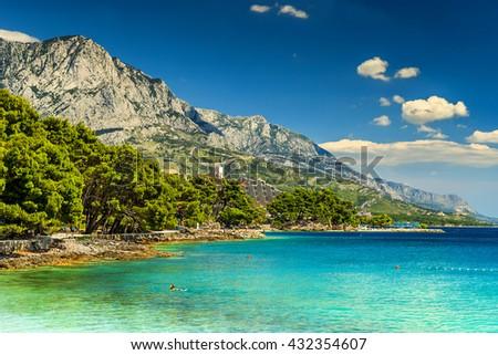 Stunning summer landscape with Adriatic Sea,Biokovo mountains and wonderful bay,Brela beach,Makarska riviera,Dalmatia,Croatia,Europe - stock photo