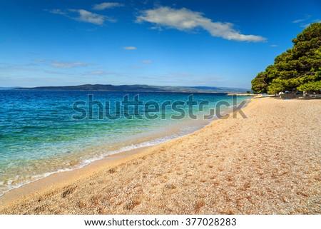 Stunning summer landscape with Adriatic Sea,Brela beach,Dalmatia,Croatia,Europe - stock photo