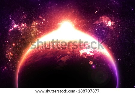 Stunning Sunrise Over Planet - Elements of this Image Furnished By NASA - stock photo