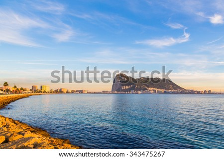 Stunning sunset or sunrise view on the rock of Gibraltar in Spain - stock photo