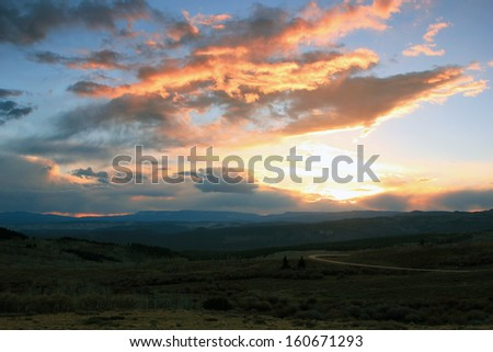 Stunning sunset sky in the Utah mountains, USA. - stock photo