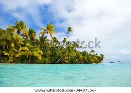 Stunning tropical island with palm trees, white sand and turquoise ocean water at Cook Islands, South Pacific - stock photo