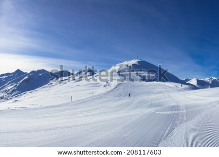 stunning view of skiing resort in Alps. Livigno, Italy - stock photo
