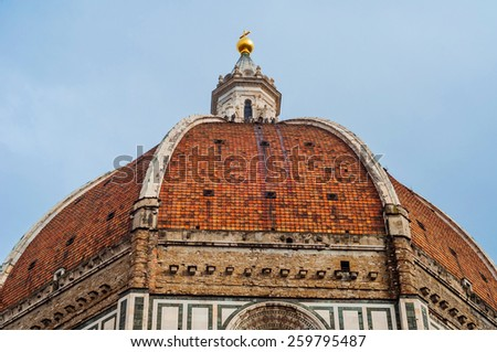 stunning view of The Duomo in The Cattedrale di Santa Maria del Fiore, Florence, Italy. - stock photo