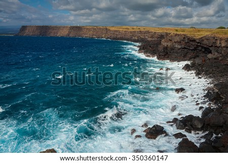 Stunning view of the ocean from the southernmost point of Hawaii and the United States - stock photo