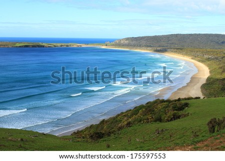 Stunning view of the Pacific Ocean and a beach in beautiful Catlins area, Southland, New Zealand - stock photo
