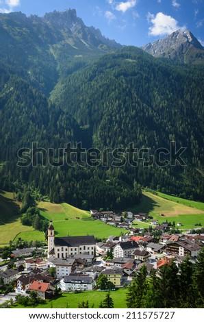 Stunning view on Neustift im Stubaital, Tirol, Austria - stock photo
