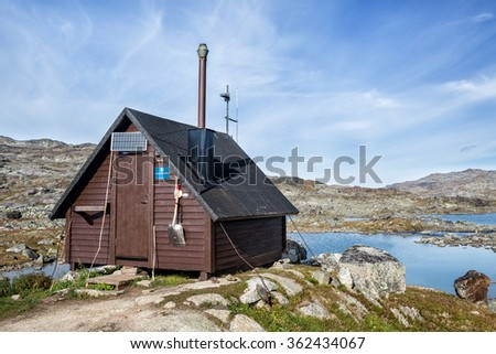 Stuor Kärpel - Rescue Hut in the Swedish Mountains - stock photo