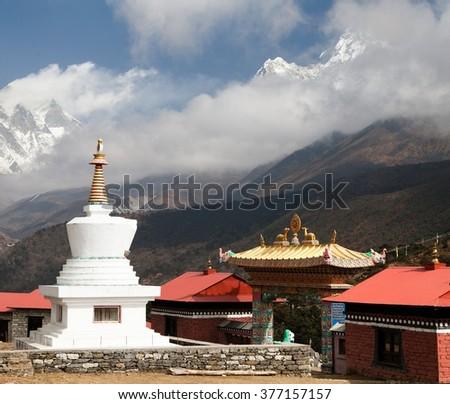 Stupa, Ama Dablam, Lhotse and top of Everest from Tengboche monastery with beautiful sky - Way to Everest base camp, Sagarmatha national park, Khumbu valley, Nepal  - stock photo