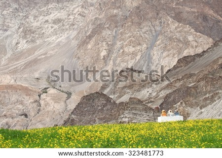 Stupas in the Himalayas (Buddhistic symbol) - Zanskar, Ladakh - stock photo