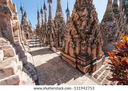 Stupas in the Kakku Pagoda Complex in Myanmar - stock photo