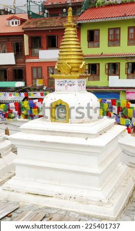 Stupas surrounding the main Swayambhunath Stupa, Nepal - stock photo