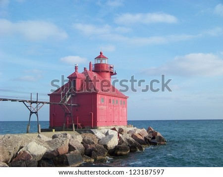 Sturgeon Bay Ship Canal Red Lighthouse - stock photo
