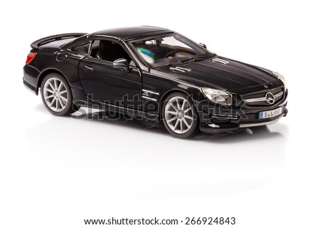 Stuttgart, Germany - APR 04- Mercedes SL 65 AMG on white background, Saturday 04 April 2015 - stock photo