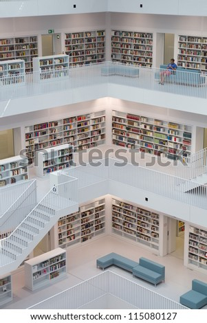 STUTTGART, GERMANY - AUG 18: The Stuttgart City Library on August 18, 2012 in Stuttgart, Germany.  The library, opened in October 2011, was designed by Yi Architects and has more than 500,000 books. - stock photo