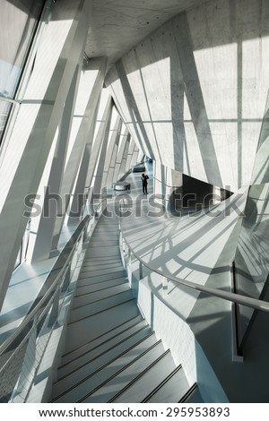 Stuttgart, Germany, February 20, 2014. Interior of the Mercedes Benz Museum in Stuttgart. - stock photo